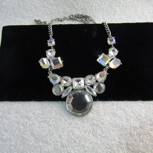 ANN TAYLOR LOFT Glass Stone Silver Tone Necklace